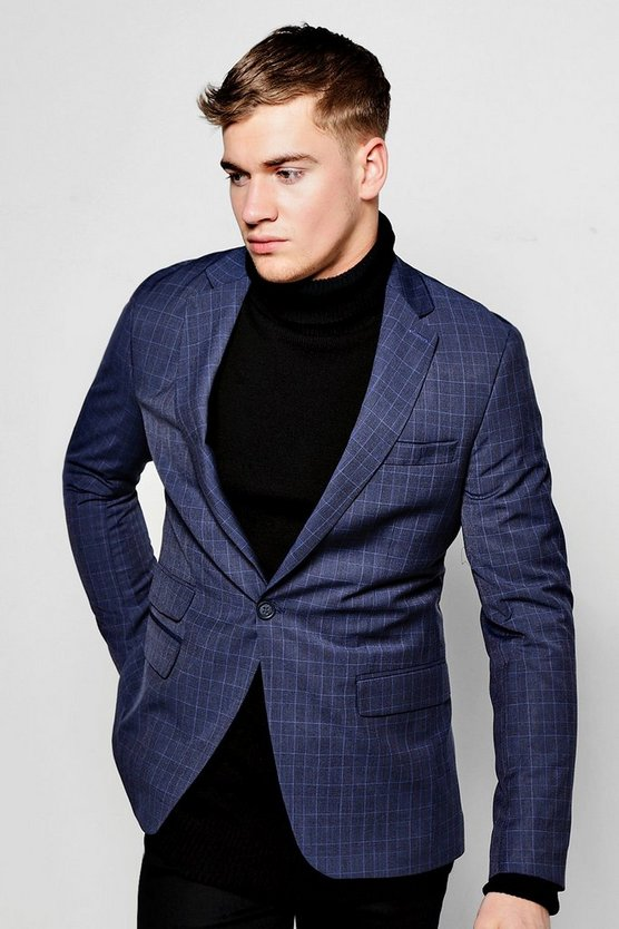 Skinny Fit Check Suit Blazer