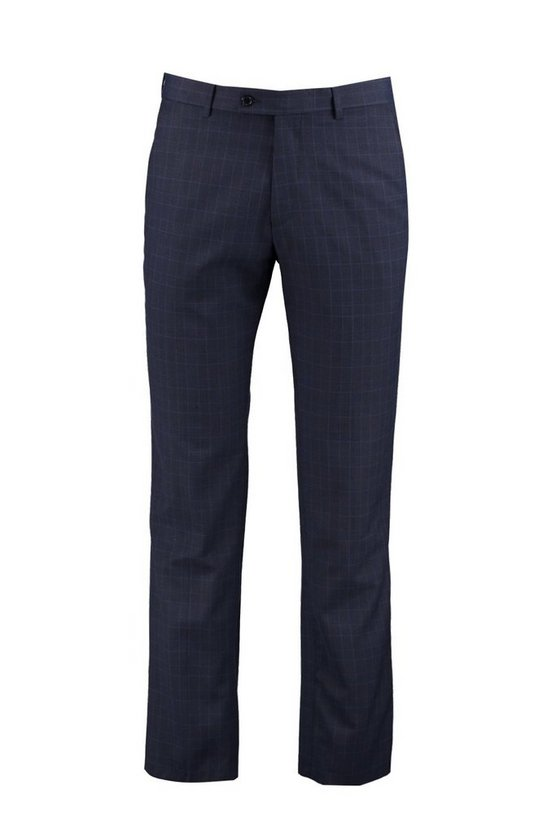 Mens Blue Skinny Fit Check Suit Trousers