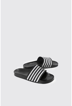Mens Black Pool Sliders