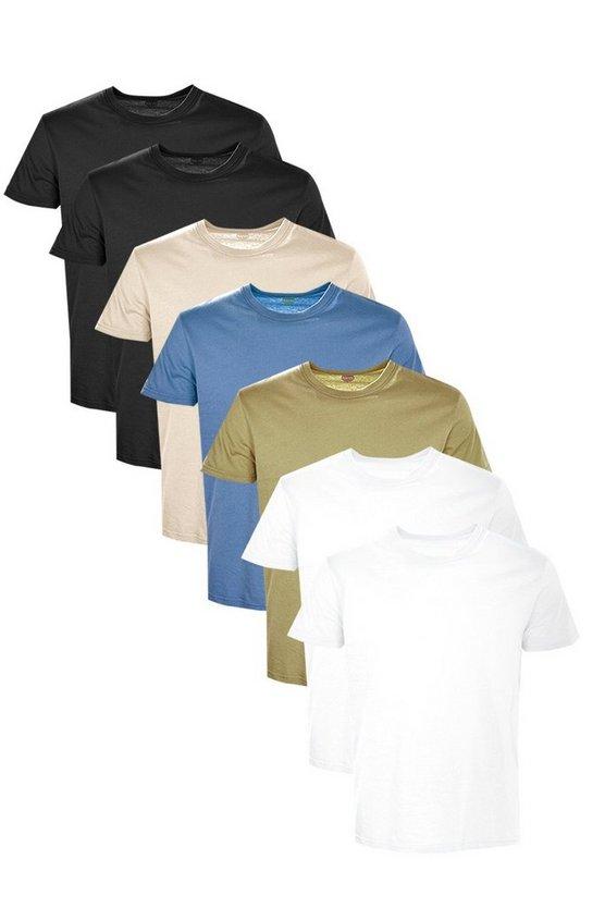 7 Pack Slim Fit Crew Neck T Shirts