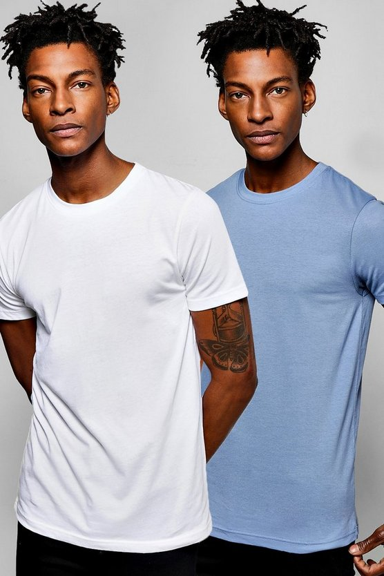 Mens Multi 2 Pack Muscle Fit Crew Neck T Shirts