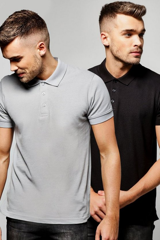 2 Pack Short Sleeve Pique Polos