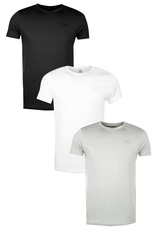 3 Pack MAN Embroidered T Shirts in Muscle Fit