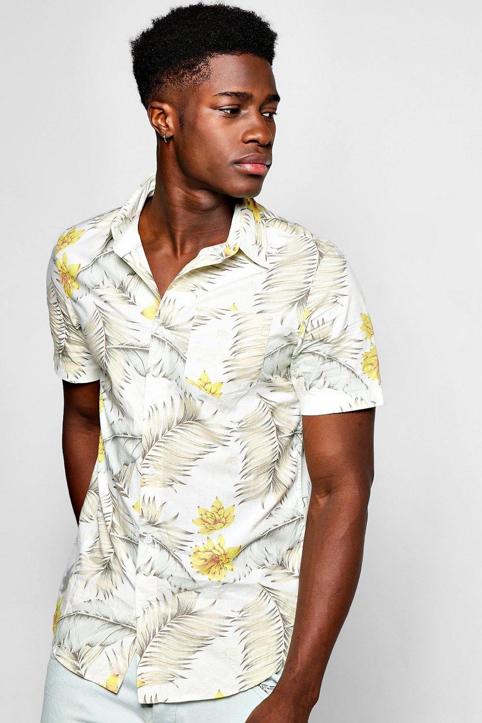 a295812f Floral Print Short Sleeve Shirt | Boohoo