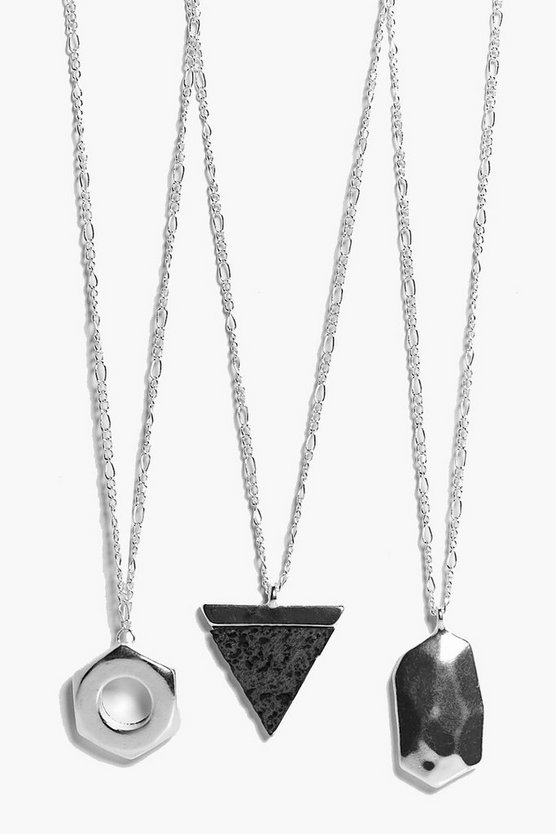 3 Pack Geo Charm Necklace