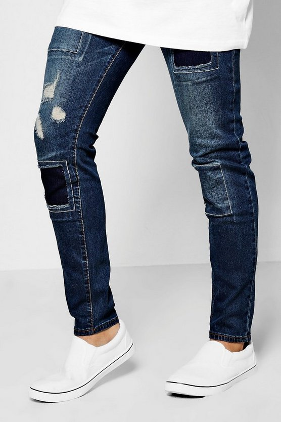 Skinny Fit Patch Work Jeans