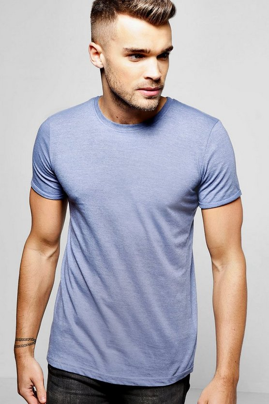 Mens Denim Crew Neck T-Shirt with Rolled Sleeves