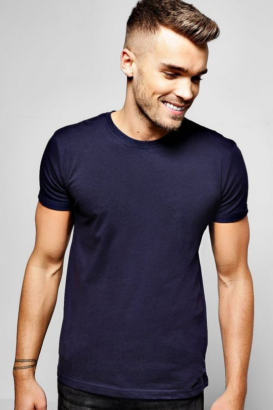 Mens Navy Crew Neck T-Shirt with Rolled Sleeves