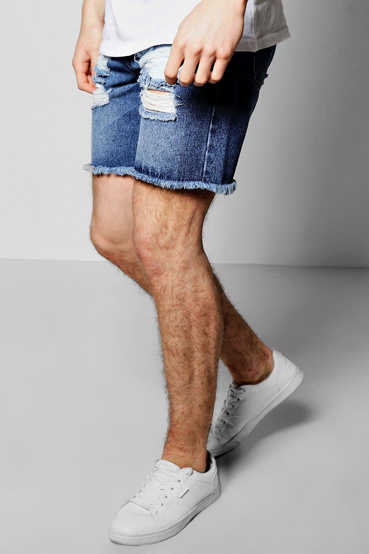 Slim Fit Destroyed Denim Shorts With Raw Hem