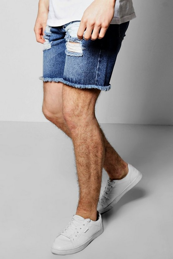 Slim Fit Destroyed Denim Shorts With Raw Hem
