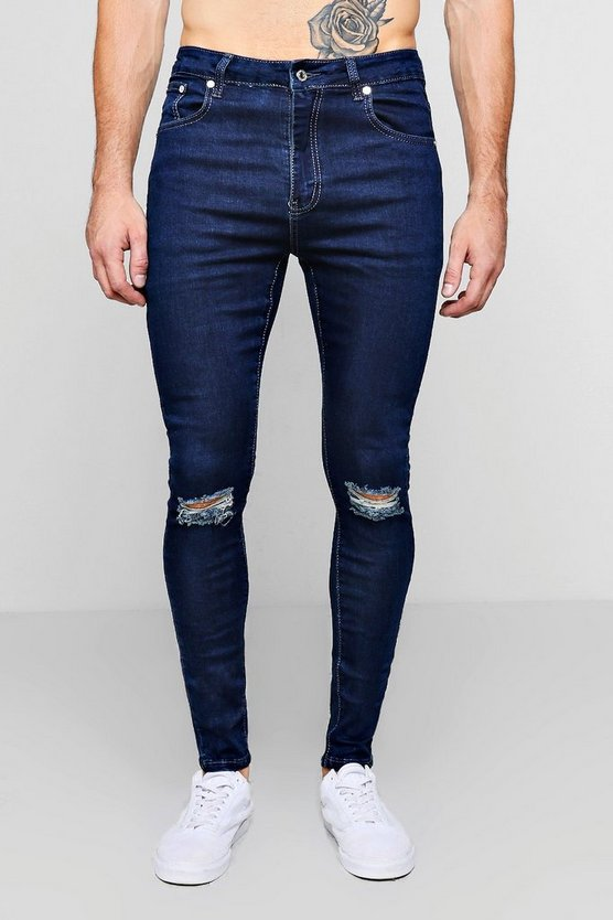 Mid blue Spray On Skinny Jeans With Ripped Knees