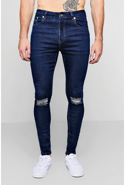Mens Mid blue Spray On Skinny Jeans With Ripped Knees
