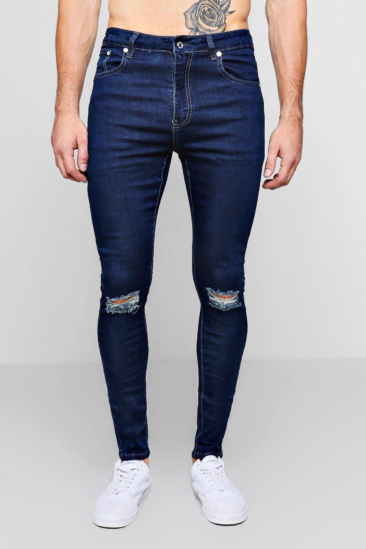 jeans rasgadas medio rociados rodillas con skinny Azul v4rwavq