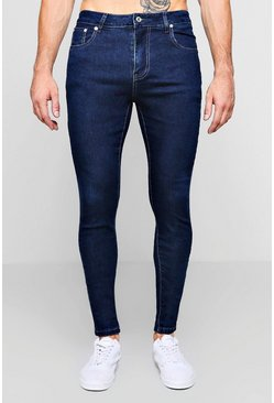 Mens Mid blue Spray On Skinny Jeans