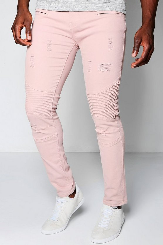 Super Skinny Stretch Biker Jeans