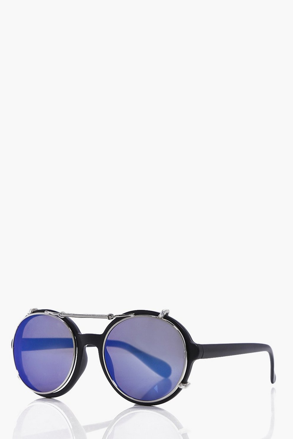Wire Frame Round Lens Sunglasses - boohooMAN