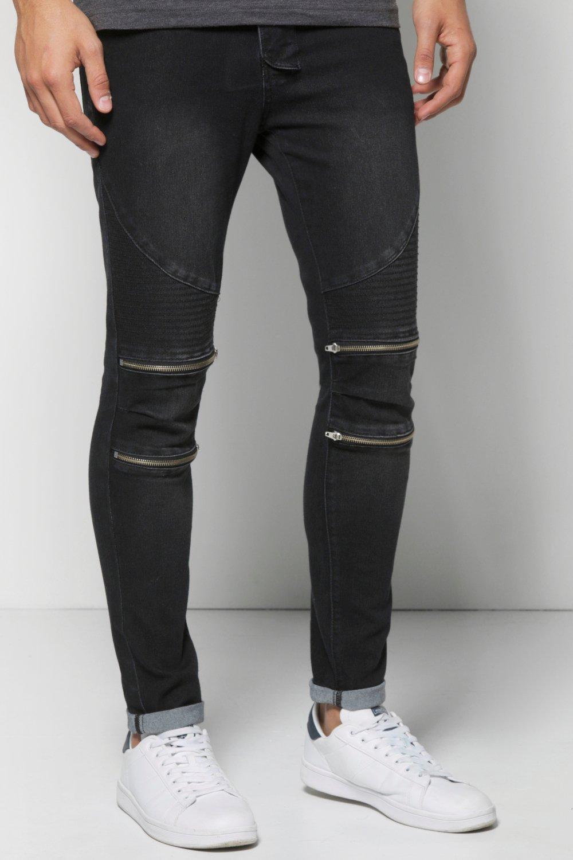 luxury fashion good quality Good Prices Skinny Fit Zip Knee Biker Jeans - boohooMAN