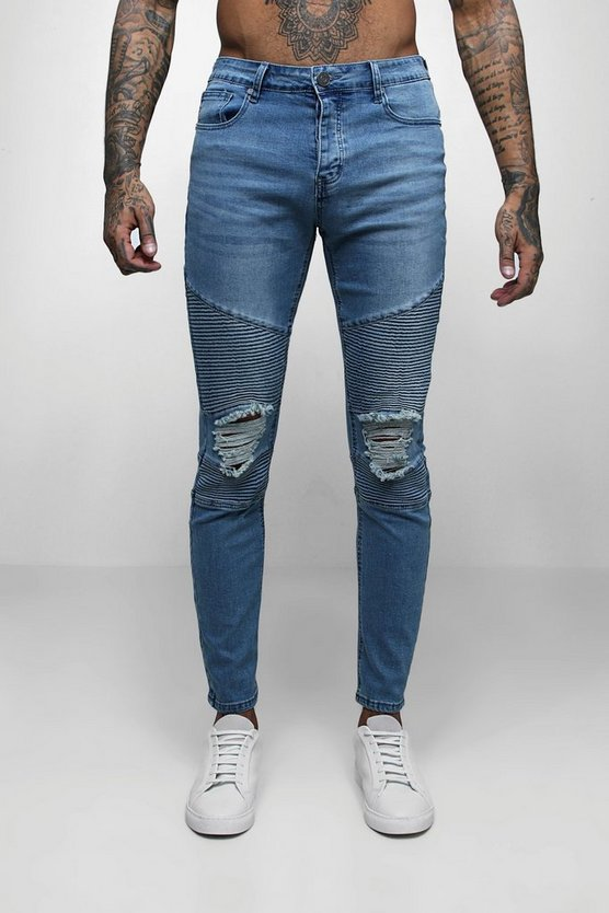 Mens Mid Blue Biker Detail Skinny Fit Jeans