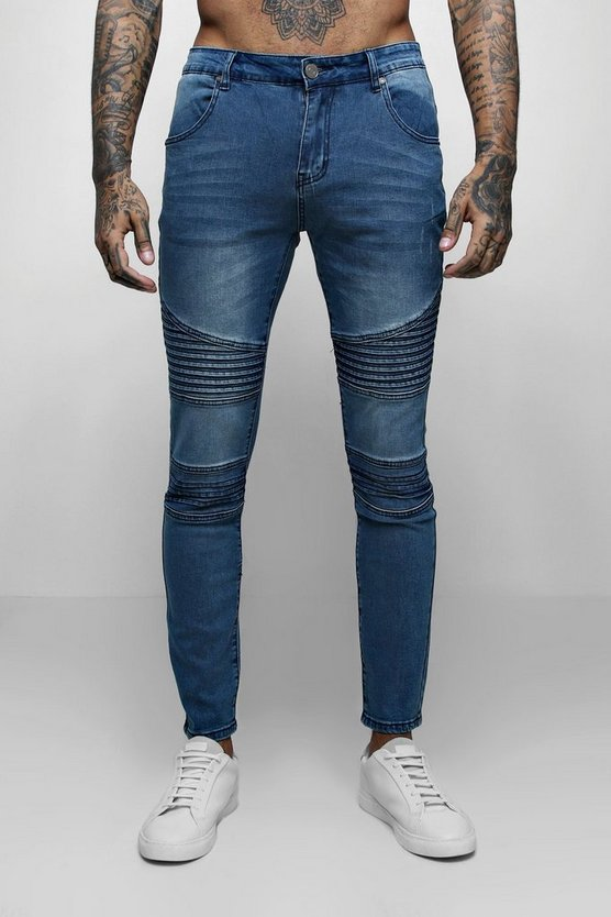 Mens Mid blue Super Skinny Fit Jeans With Biker Detail
