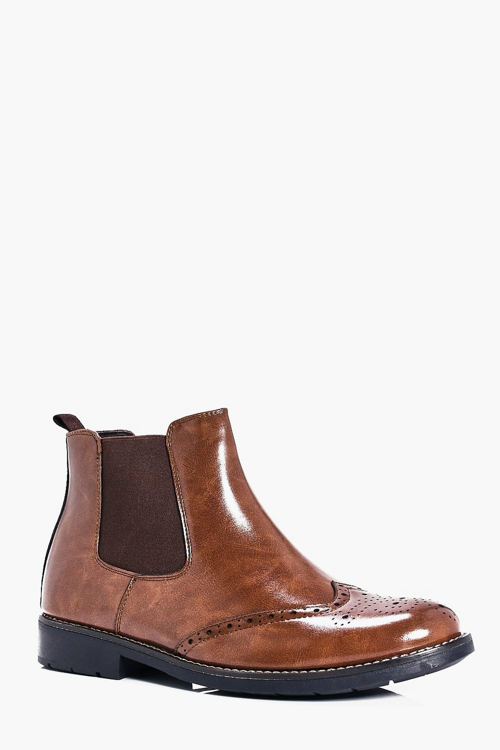Brogue Detail Chelsea Boots | Boohoo