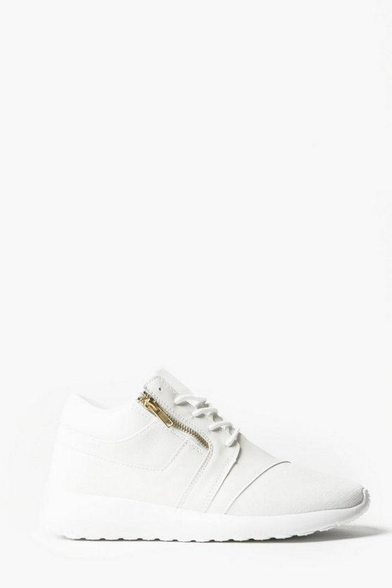 Zip Detail Lace Up Trainer