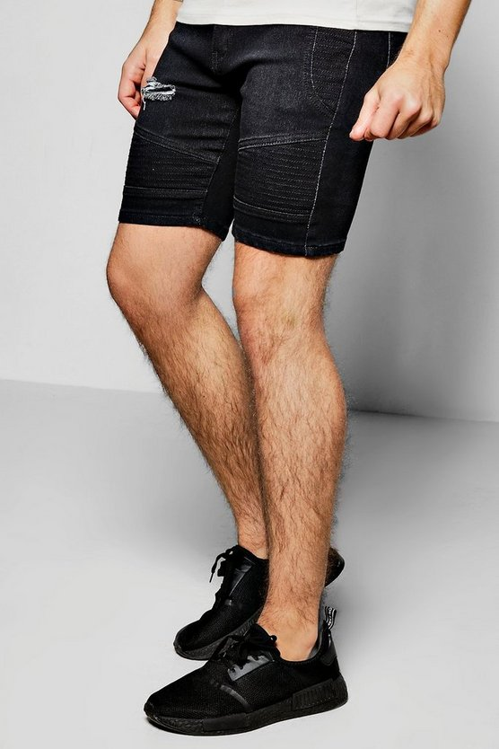 Mens Black Black Skinny Fit Ripped Biker Shorts