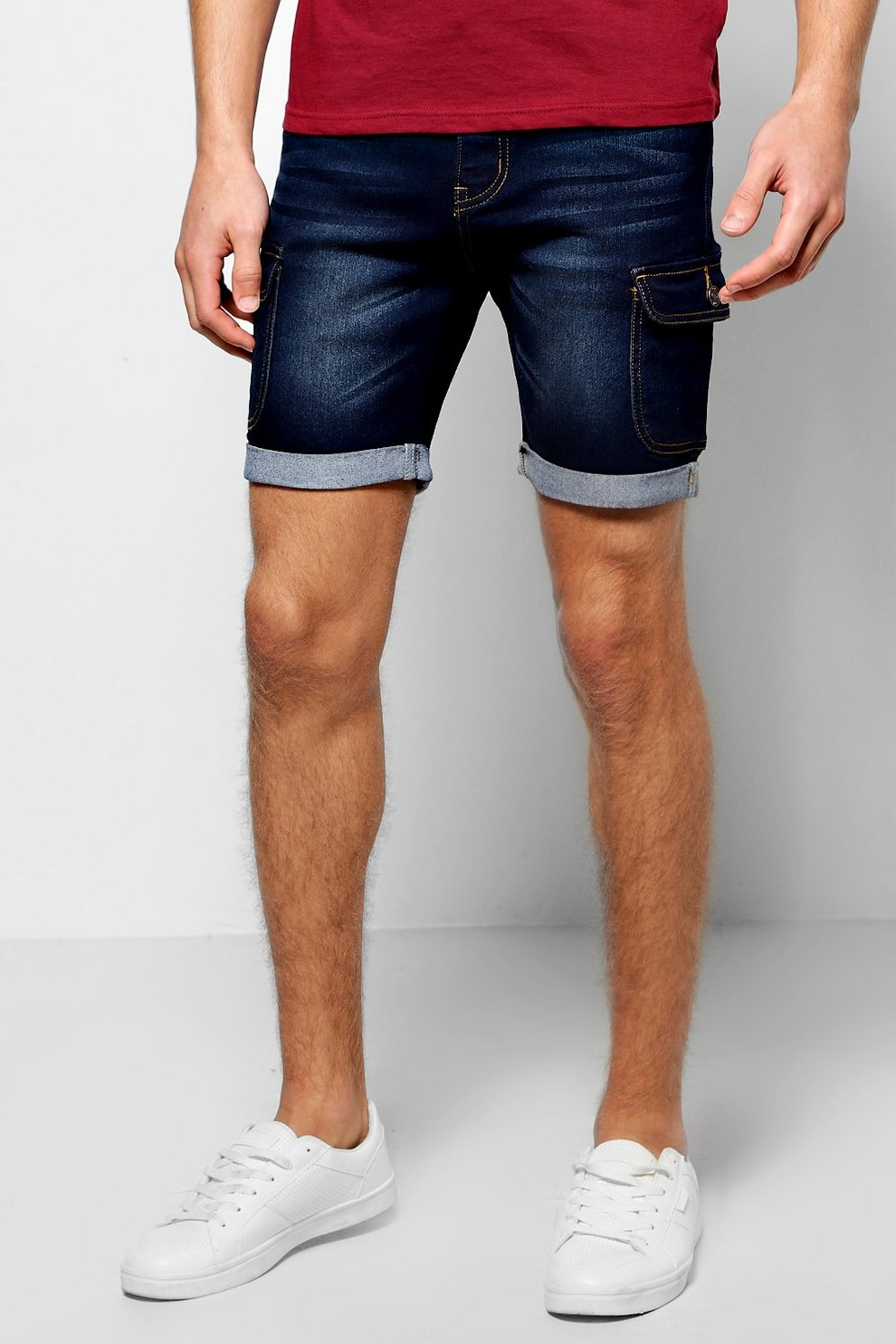 En StretchBoohoo Cargo Jean Short Skinny kZuOPXi