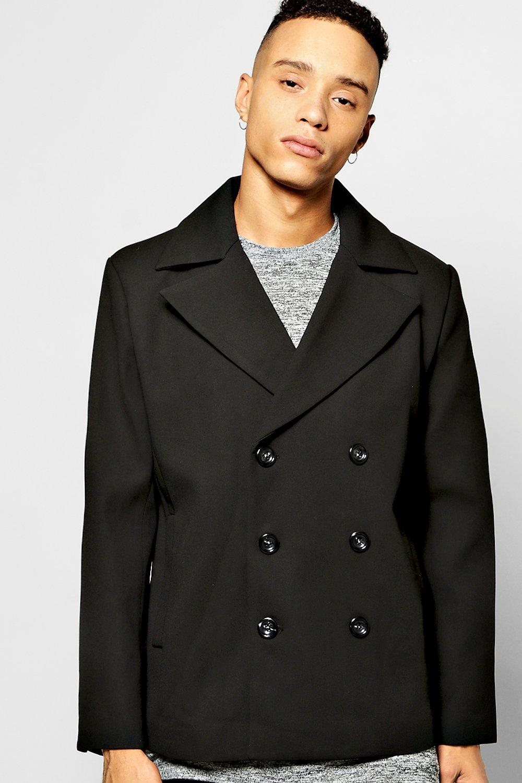 81e6b2ae53 Mens Black Double Breasted Pea Coat