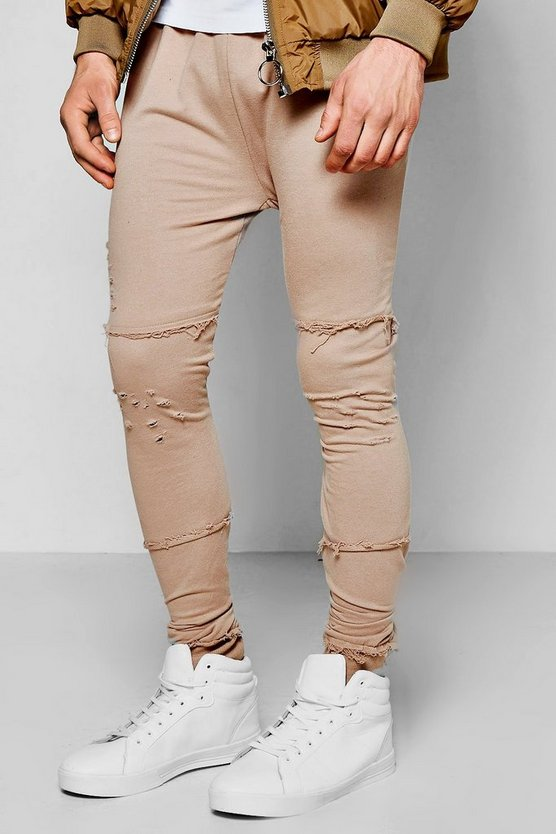 Skinny Fit Destroyed Joggers With Raw Edge