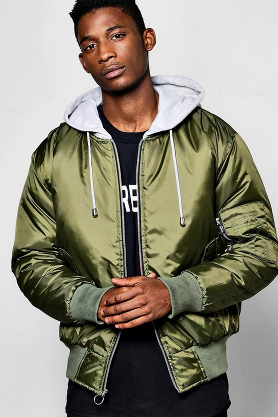 Oversized Hooded MA1 Bomber Jacket