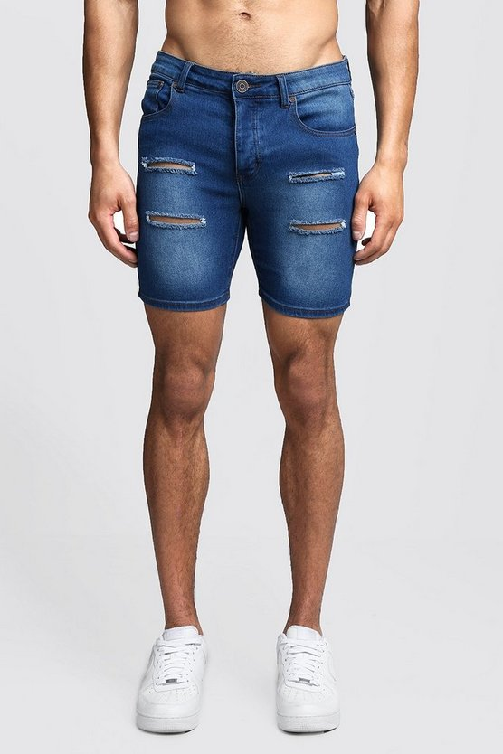 Mens Mid blue Skinny Fit Distressed Denim Shorts
