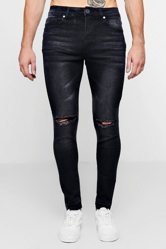 Mens Washed black Super Skinny Raw Edge Distressed Jeans