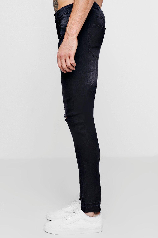borde rematar Jeans skinny con desteñido sin desgastados super negro UgqIqw6B