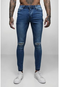 Mens Mid blue Super Skinny Raw Edge Distressed Jeans