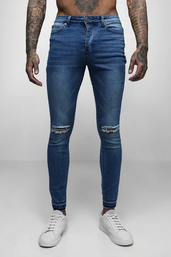 Super Skinny Raw Edge Distressed Jeans