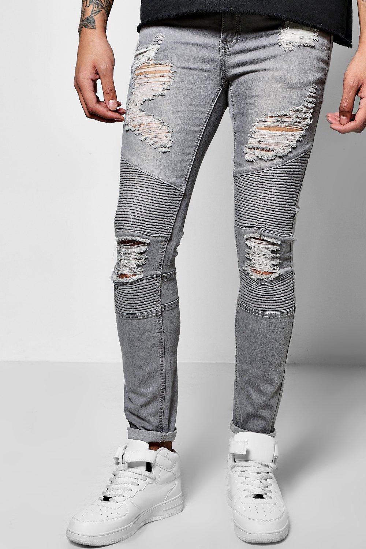 biker Gris Jeans rasgado muy super skinny SPdd4q1z