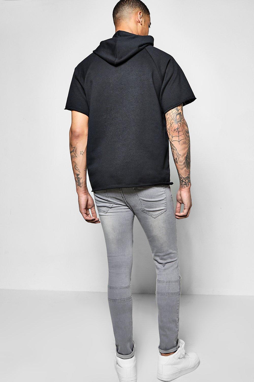 rasgado muy Jeans super skinny Gris biker AffHan4