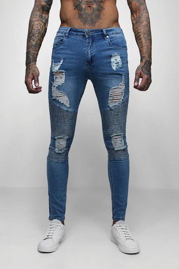 Mens Mid blue Super Skinny Biker Jeans With Extreme Rips