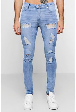 Mens Pale blue All Over Ripped Super Skinny Fit Jeans
