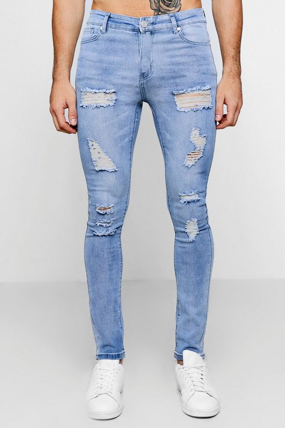 All Over Ripped Super Skinny Fit Jeans, Pale blue, Uomo