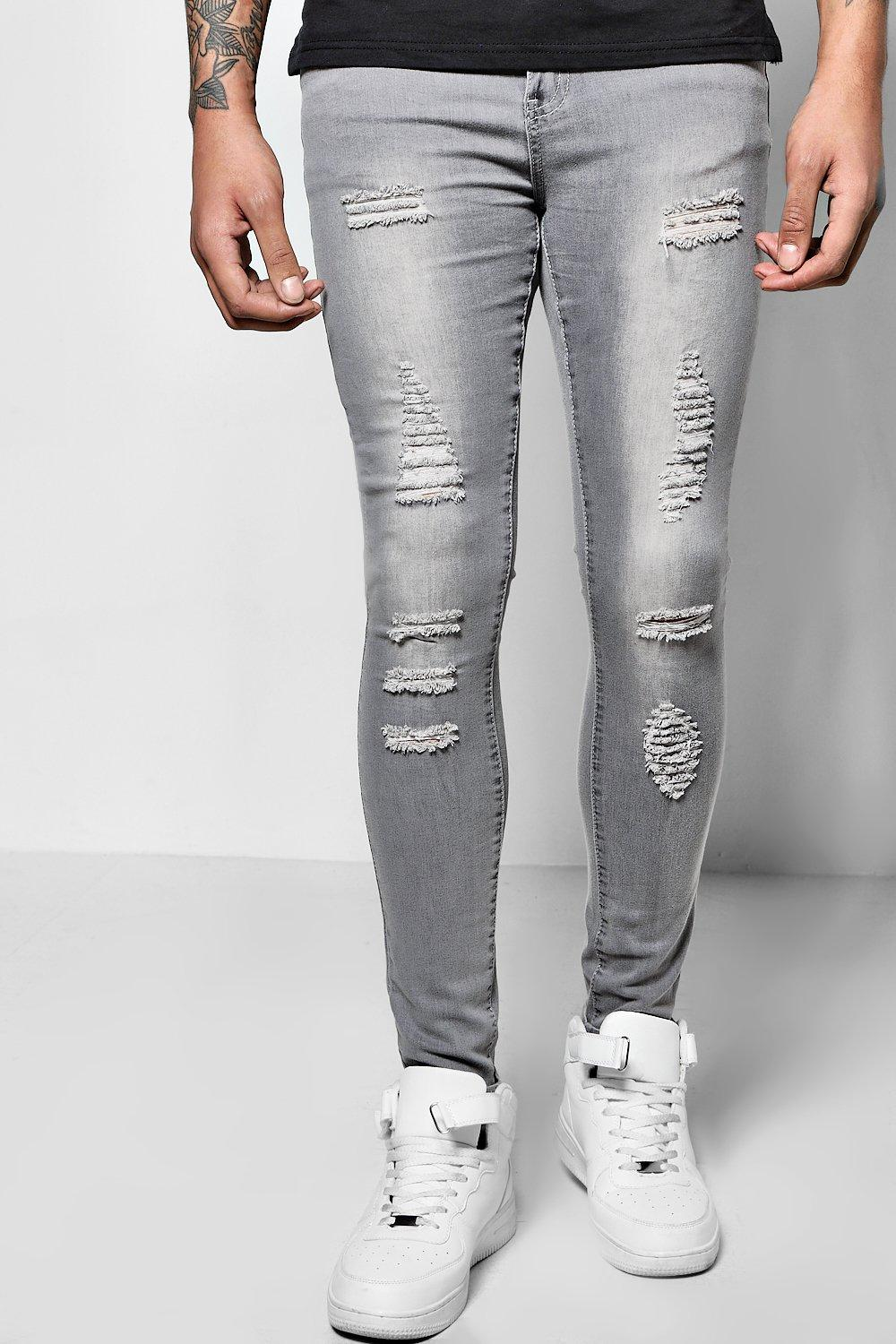 All Over Ripped Super Skinny Fit Jeans | Boohoo