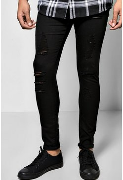 Mens Black Ripped All Over Super Skinny Fit Jeans
