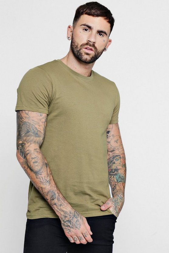 Mens Khaki Basic Crew Neck T Shirt