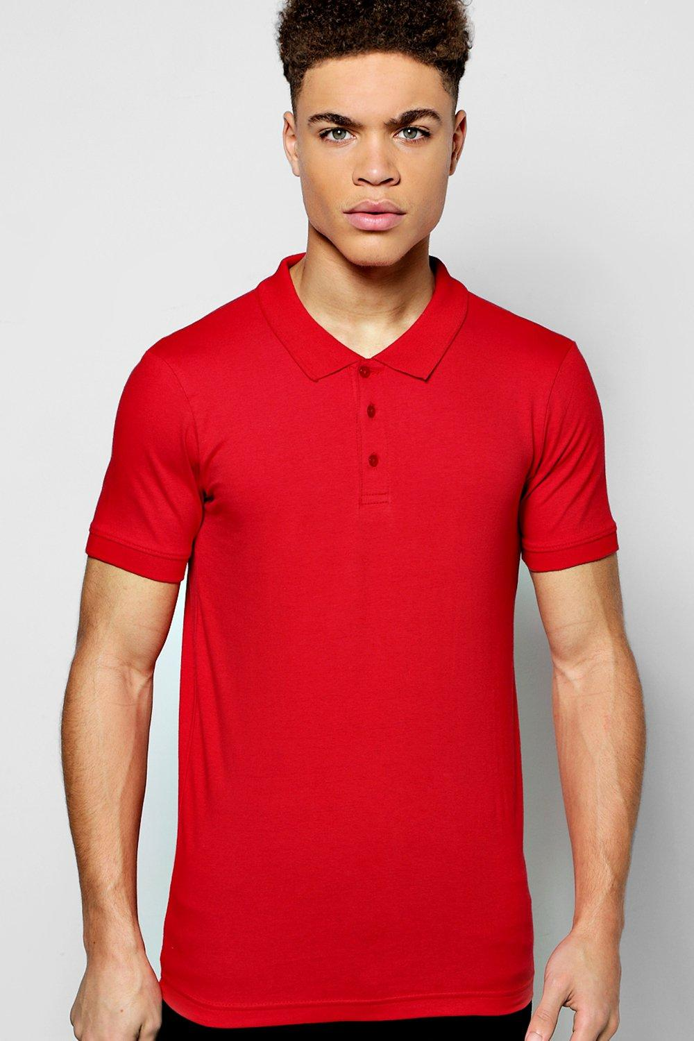Muscle Fit Jersey Polo at boohoo.com