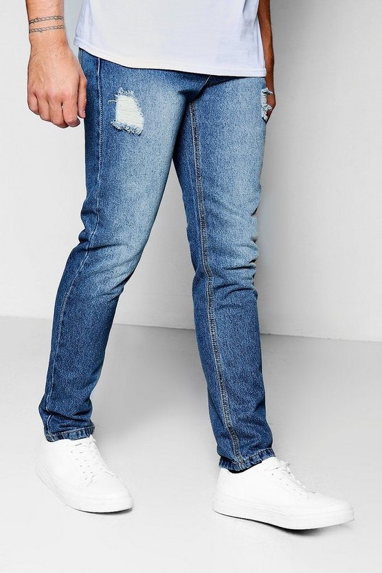 Skinny Fit Rigid Jeans With Abrasions
