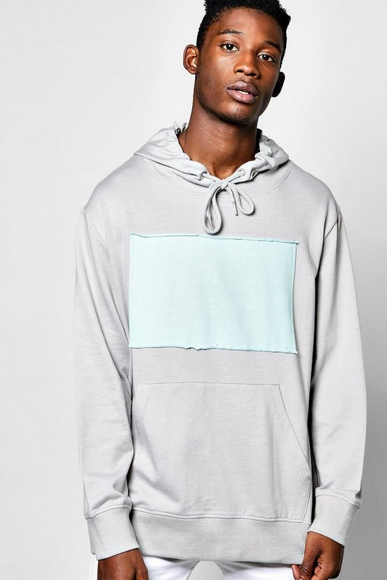 Mens Silver Oversized Over The Head Hoodie With Patch