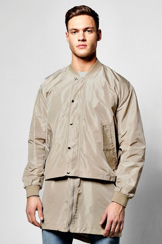Longline Bomber With Zip Off Hem