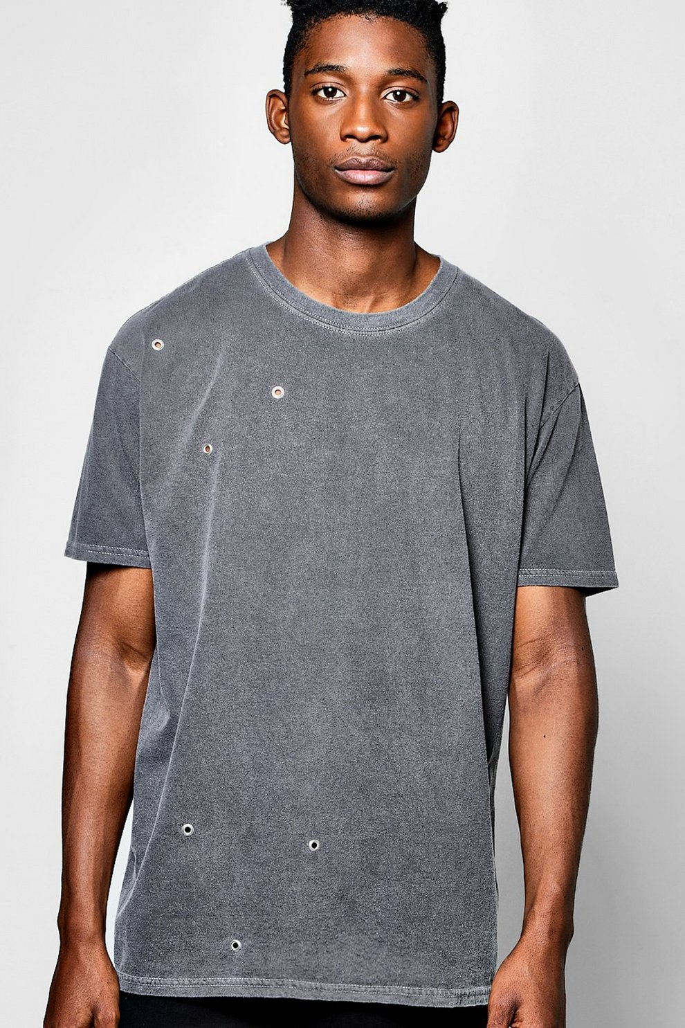 85cf92209 Mens Charcoal Oversized Washed T Shirt With Eyelets