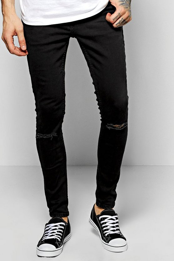 Super Skinny Fit Jeans With Ripped Knees