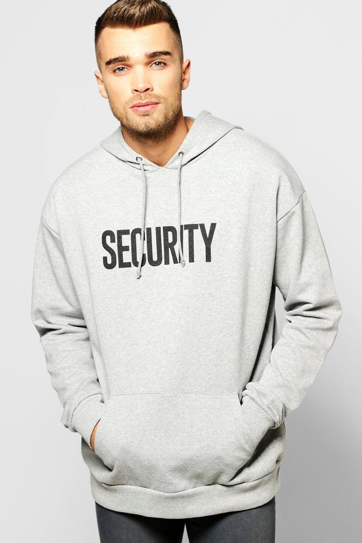 Oversized Security Print Hoodie | Boohoo